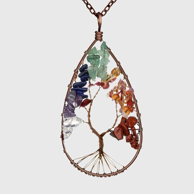Tree of Life Crystal Droplet Necklace