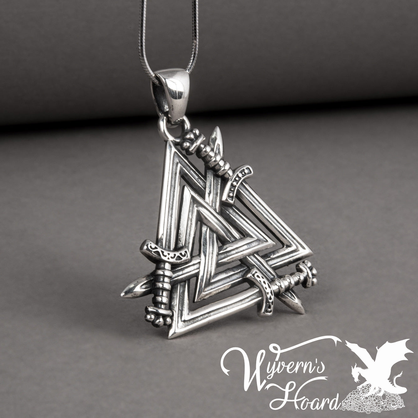 Tri-Swords Valknut Necklace