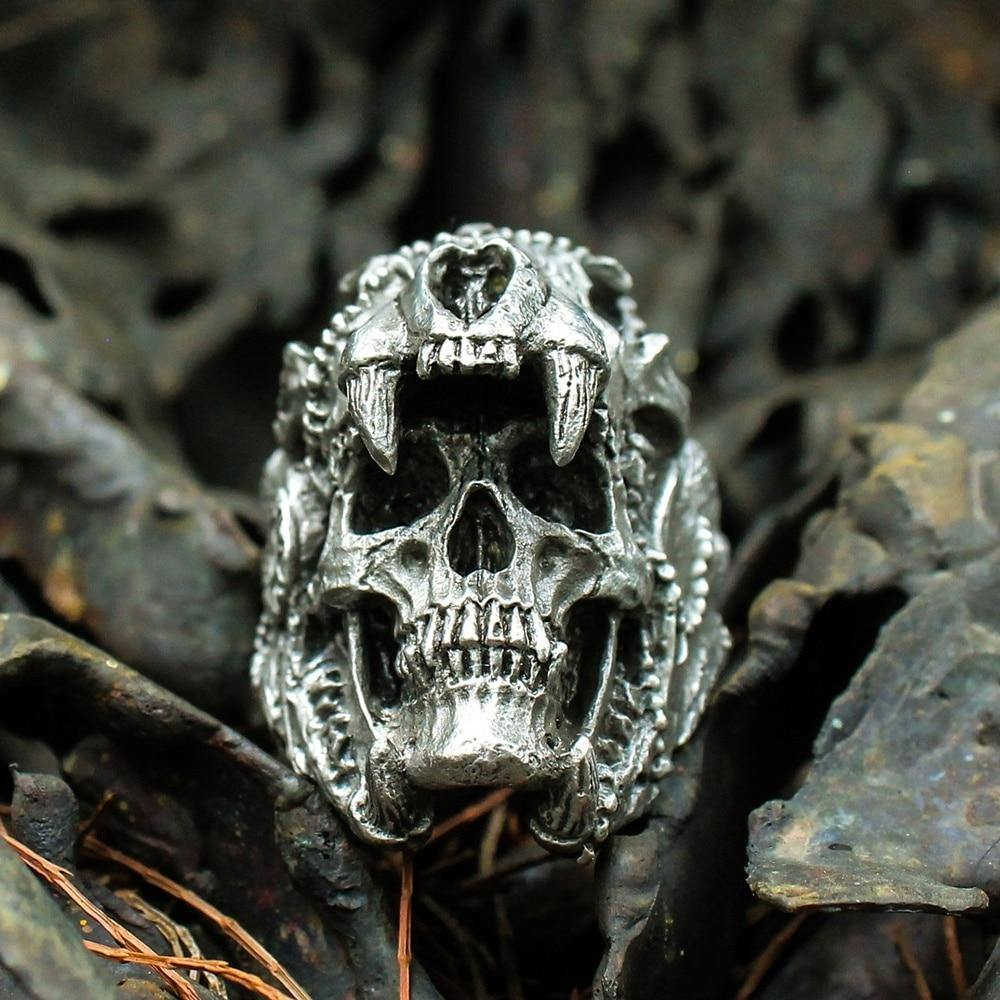 Aztec Jaguar Warrior Skull Ring