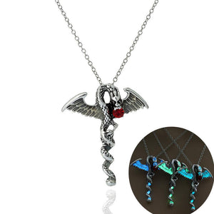 Glow In the Dark Wyvern Crystal Necklace