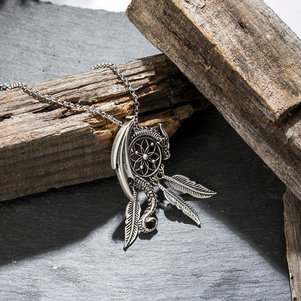 The Dream Guardian Dragon Dreamcatcher Necklace - Wyvern's Hoard