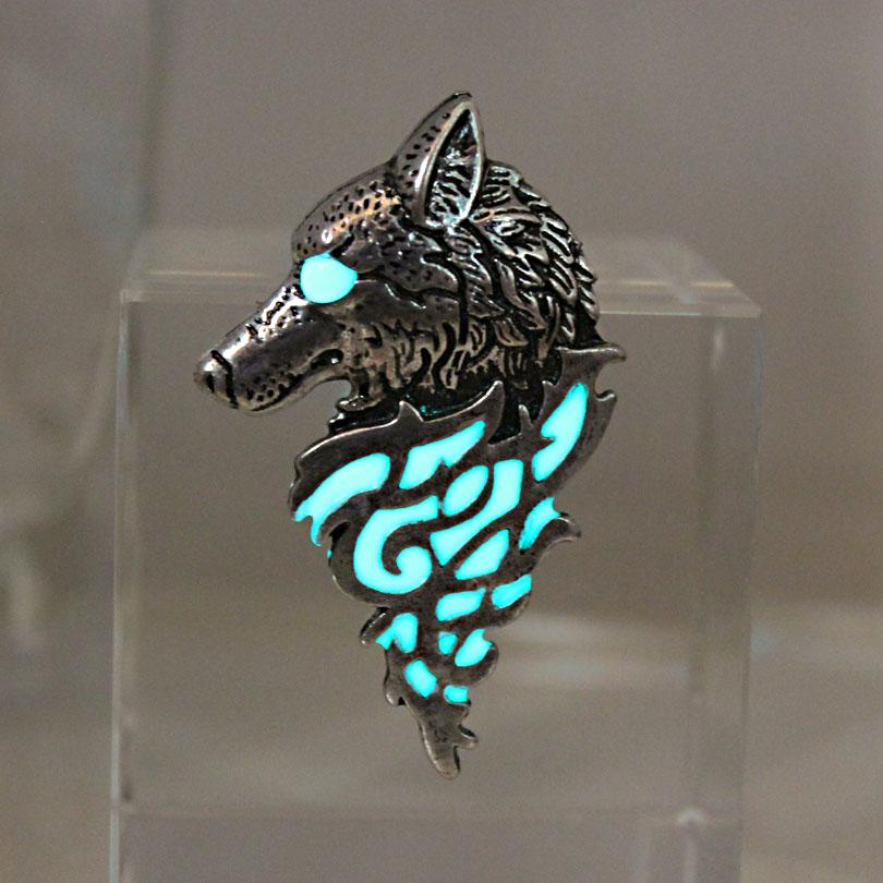 Glow In The Dark Wolf Sigil Brooch