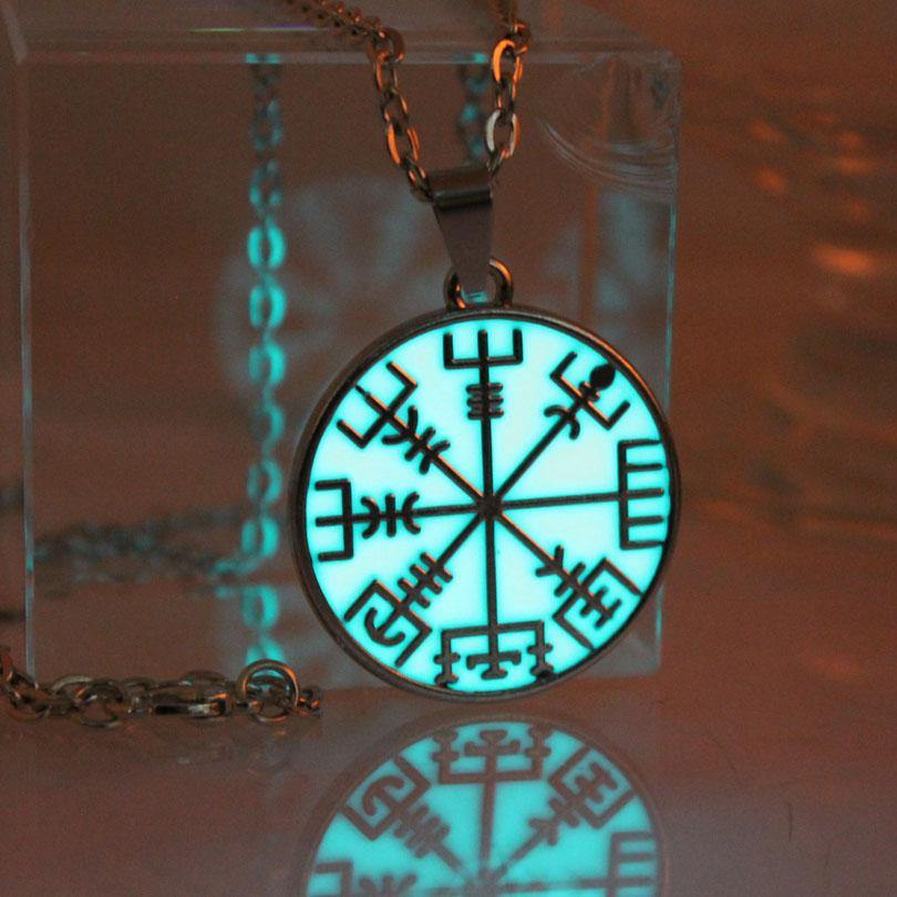 Glow In The Dark Vegvisir Viking Rune Compass Necklace