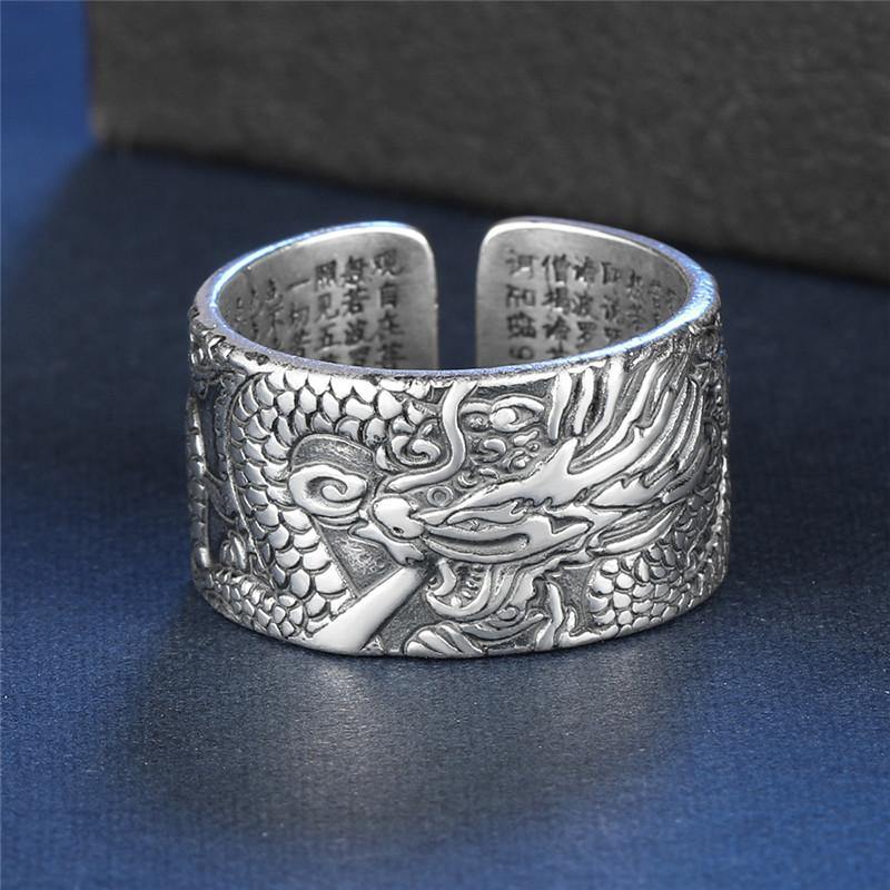 True Dragon Sutra Adjustable Sterling Silver Ring