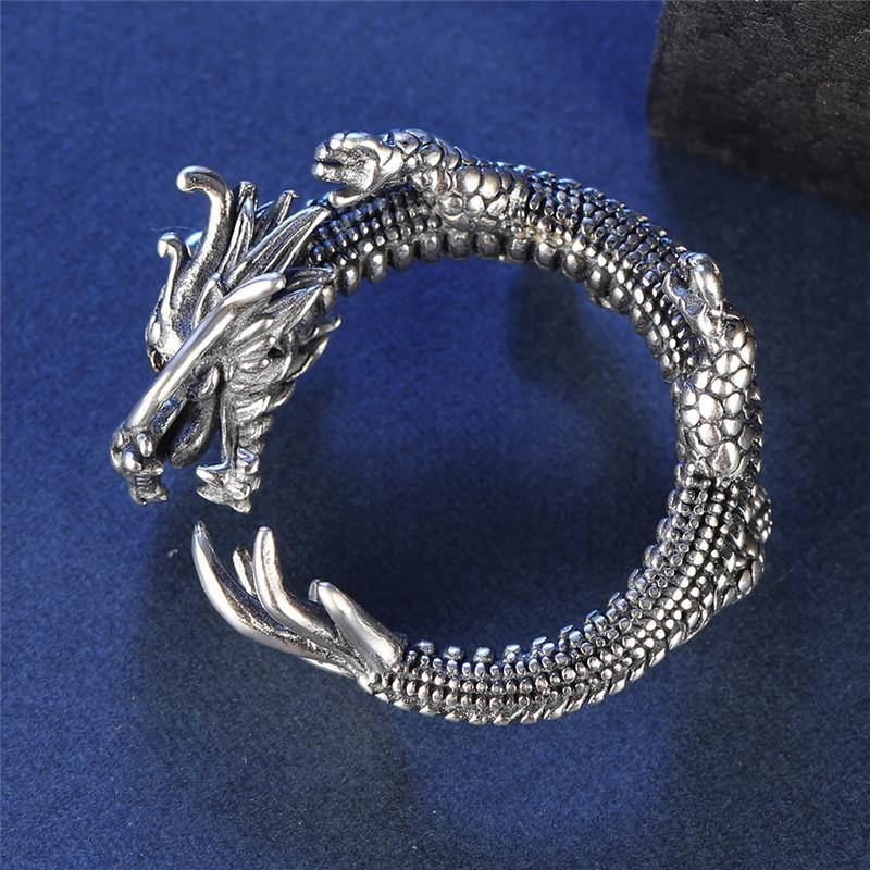 Coiled Dragon Sterling Silver Ring - Wyvern's Hoard
