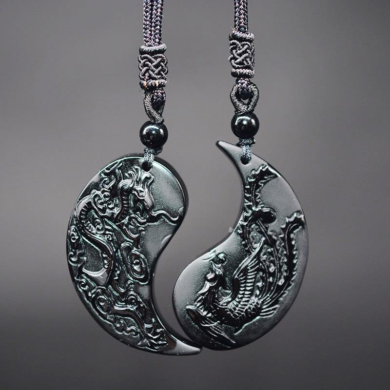 Obsidian Dragon & Phoenix Couple Necklaces - Wyvern's Hoard
