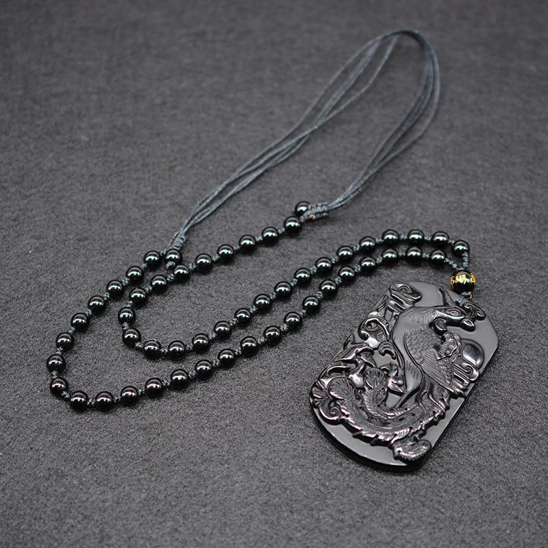 Carved Black Obsidian Phoenix Necklace - Wyvern's Hoard