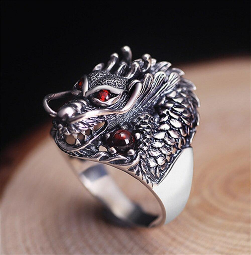 The Underworld Guardian Dragon Stainless Steel Ring - Wyvern's Hoard