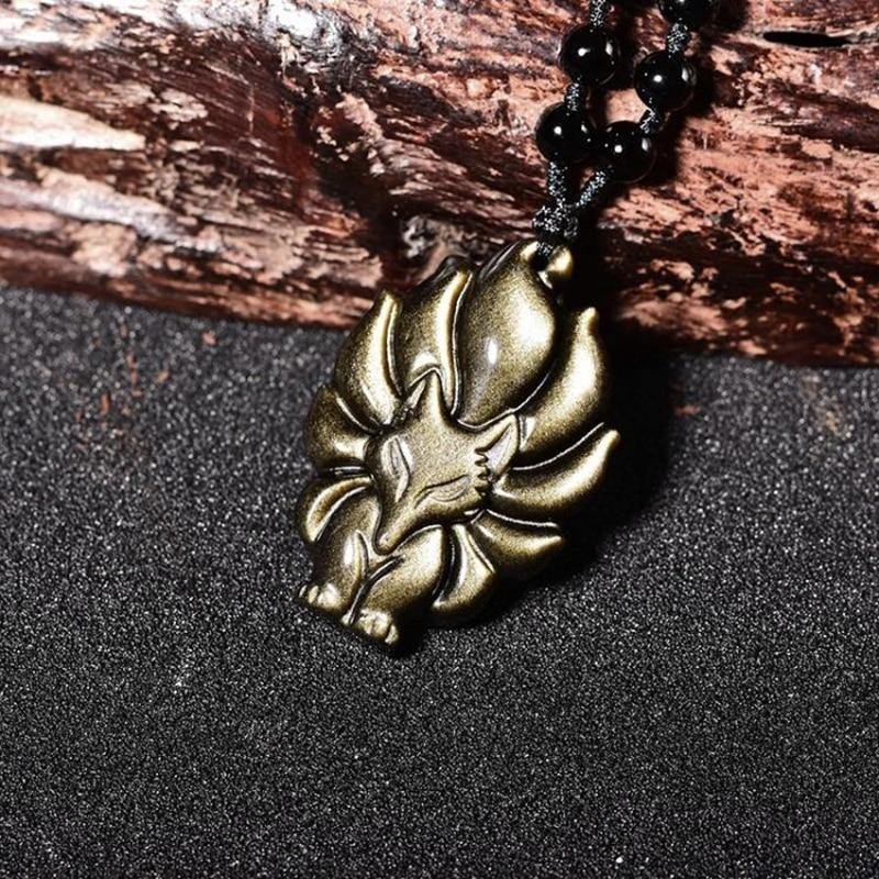 Kyūbi No Kitsune Nine-Tailed Fox Obsidian Necklace - Wyvern's Hoard
