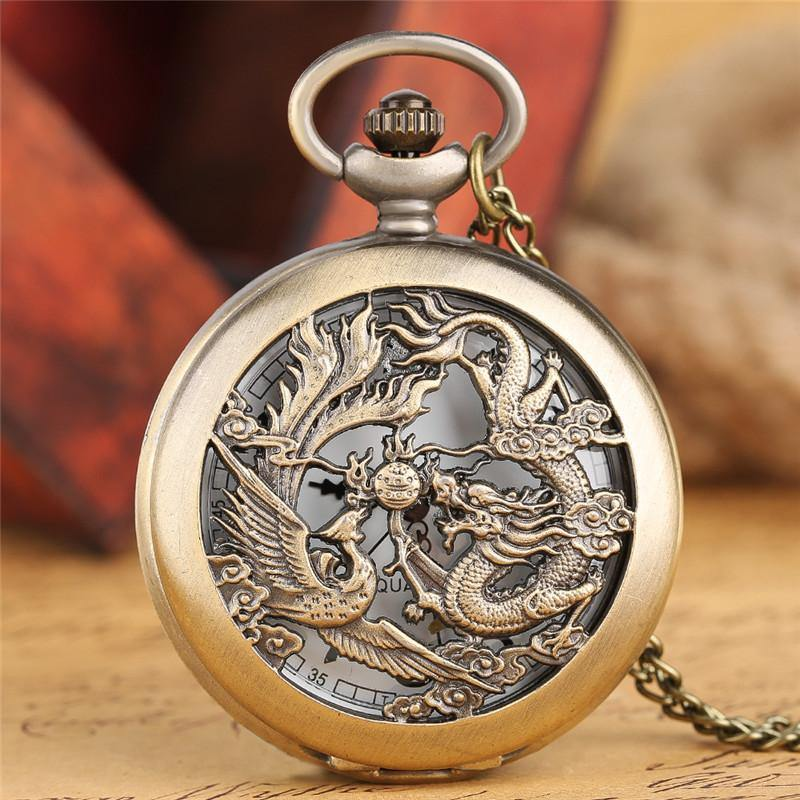 Dragon & Phoenix Pocket Watch - Wyvern's Hoard