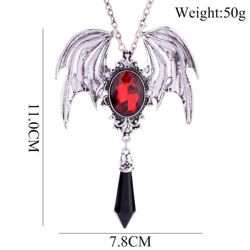 Gothic Vampire Bat Crystal Necklace
