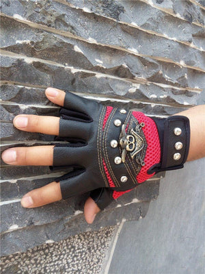 Pirate Skull Leather Gloves