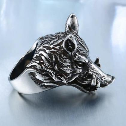 Charging Boar Head Ring