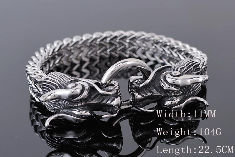 Double Dragon Heads Stainless Steel Bracelet - Wyvern's Hoard