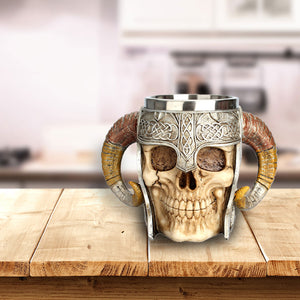 Viking Warrior Horned Skull Tankard
