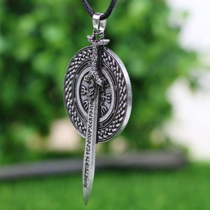 Viking Rune Sword & Shield Necklace