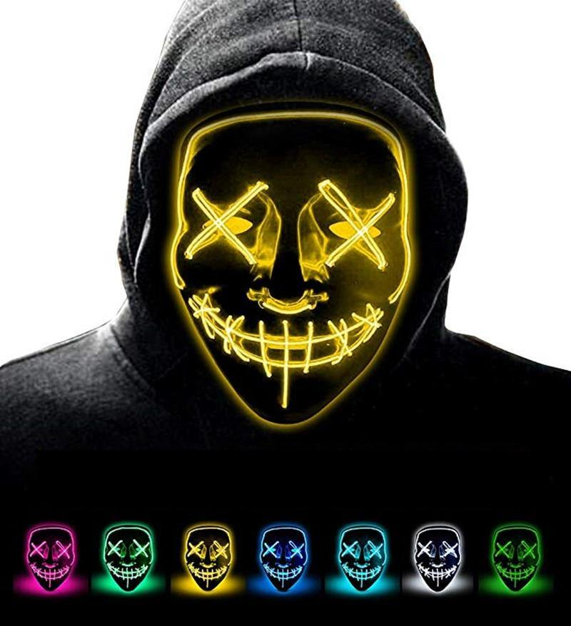 LED Neon Guy Fawkes Mask
