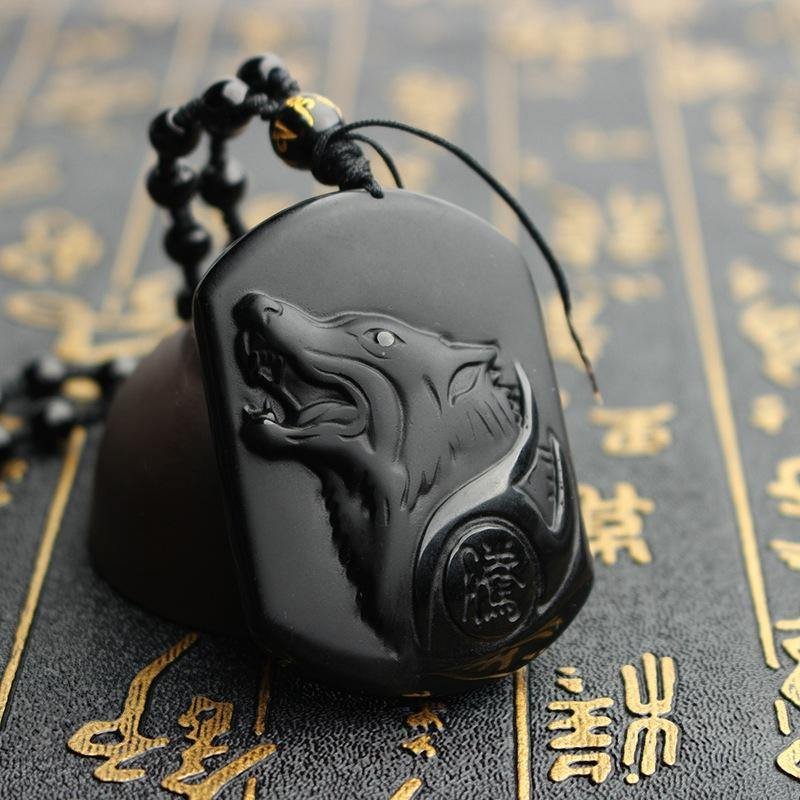 Carved Black Obsidian Wolf Necklace