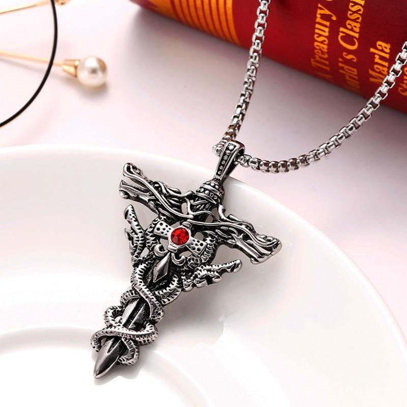 Double Dragon Sword Necklace - Wyvern's Hoard