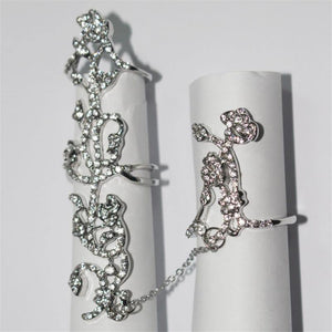 Crystal Flower Rhinestone Double Finger Rings