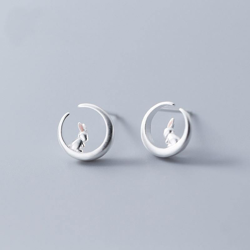 Moon Rabbit Earrings - Wyvern's Hoard