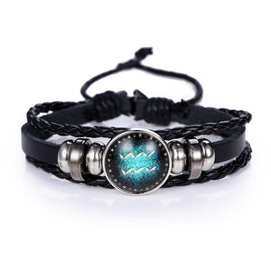 Glow In The Dark Leather Zodiac Sign Bracelets
