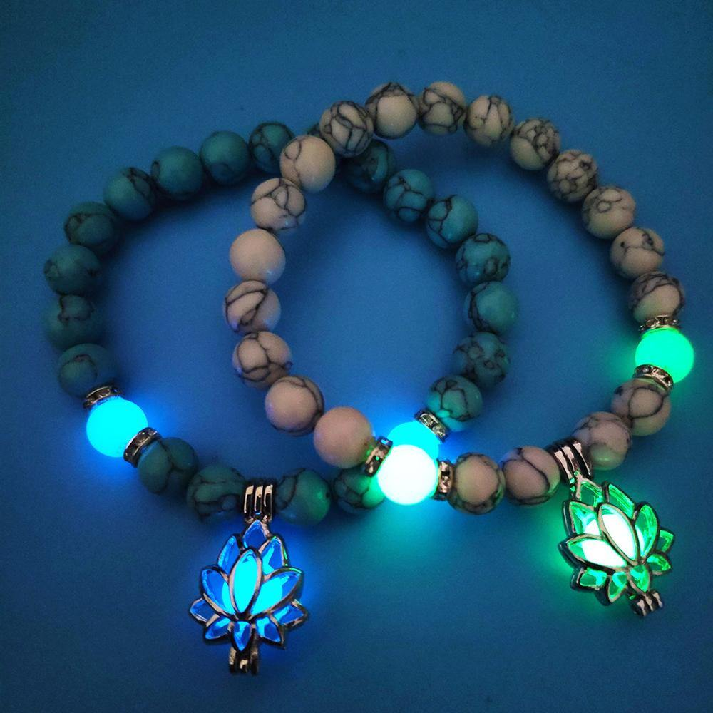 Glow in the Dark Lotus Stone Bracelet