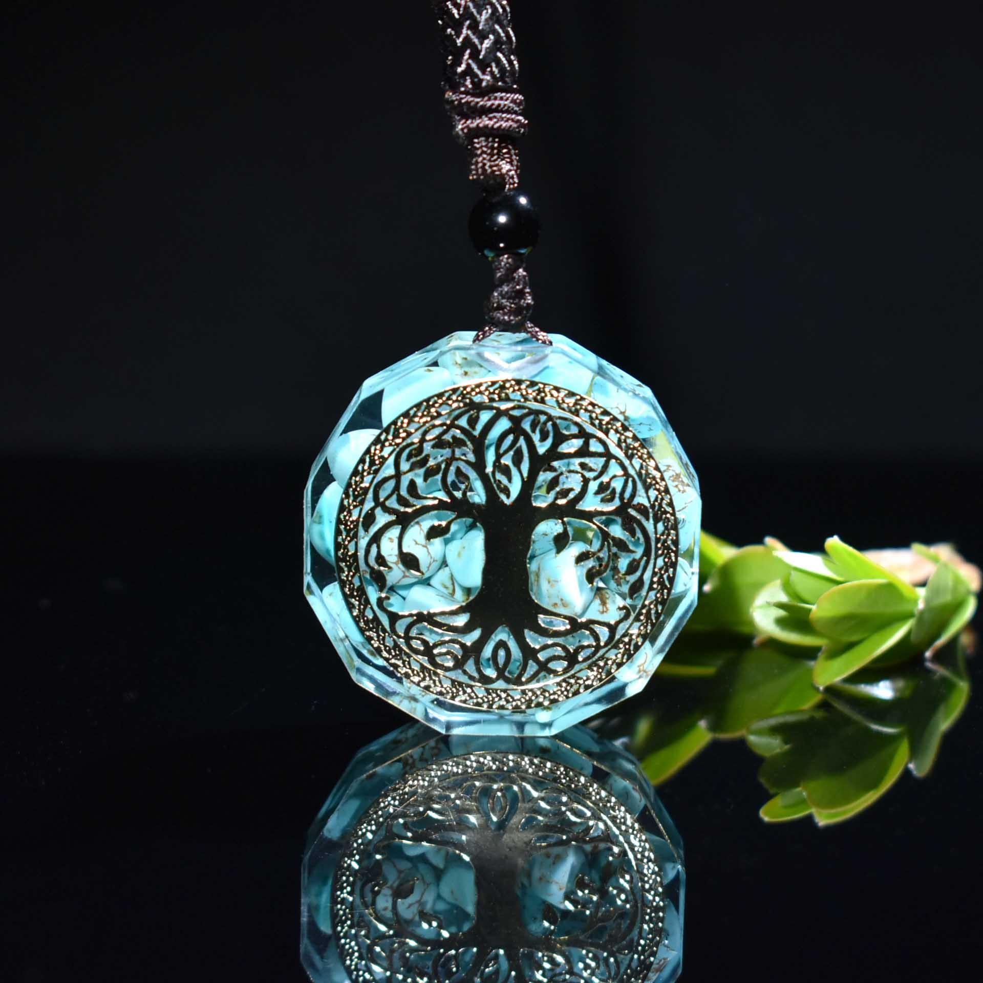 Orgonite Tree of Life Turquoise Necklace - Wyvern's Hoard