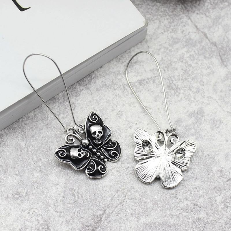 Skull Butterfly Dangle Earrings