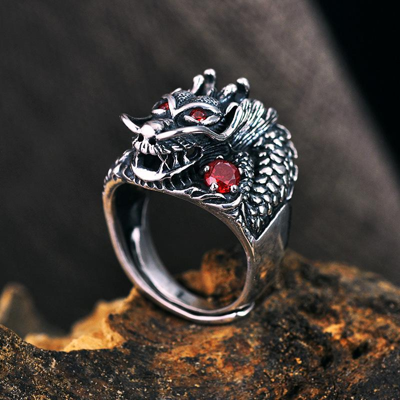 The Underworld Guardian Dragon Sterling Silver Ring