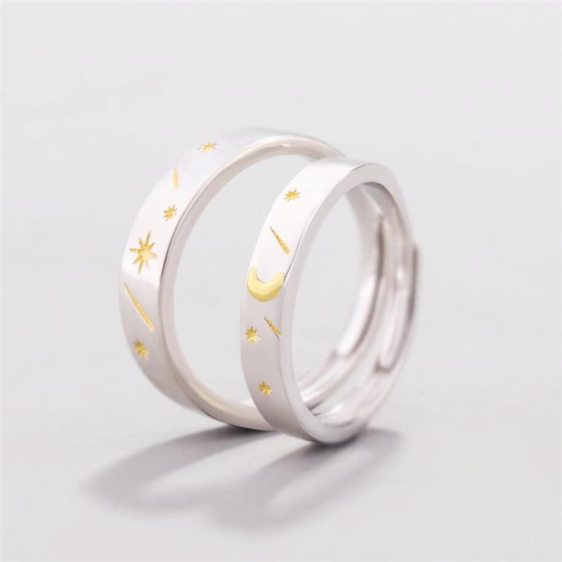 Sun Moon Stars Couple Rings - Wyvern's Hoard