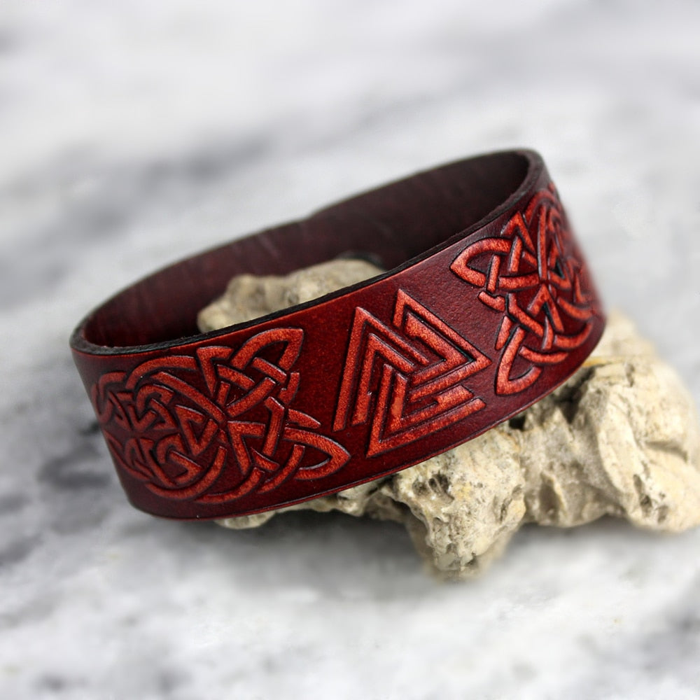 Valknut Stamped Leather Bracelet