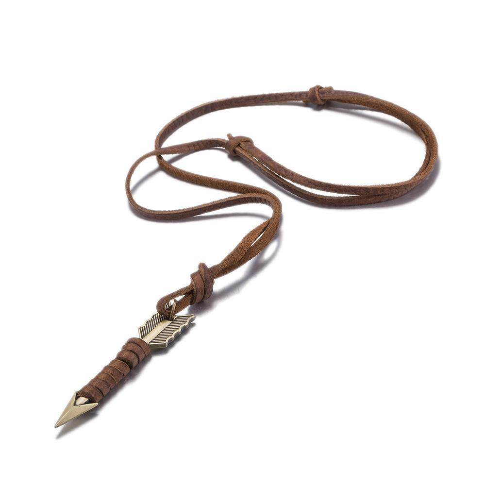 Vintage Arrow Leather Necklace - Wyvern's Hoard
