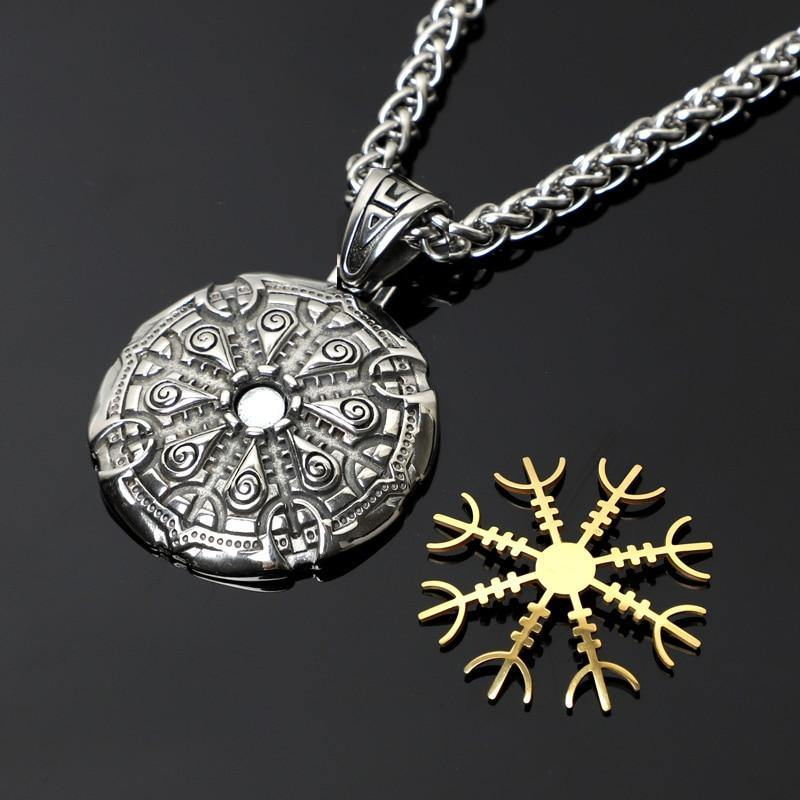 Aegishjalmr Helm of Awe Viking Magnetic Gold and Silver Stave Necklace
