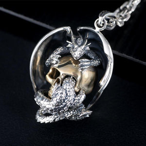 Dragon Skull Sterling Silver Necklace