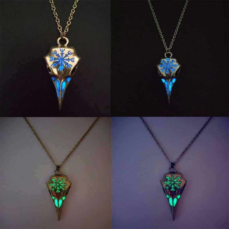 Glow in the Dark Runic Raven Amulet Necklace