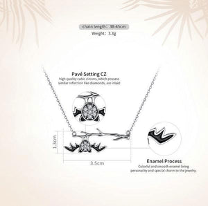 bamoer Official Store Pendant Necklaces Hanging Bat Sterling Silver Necklace