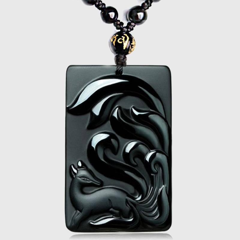 Carved Black Obsidian Nine-Tailed Fox Necklace - Wyvern's Hoard