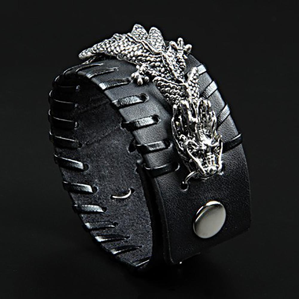 Fanduco Bracelets Black Celestial Dragon Genuine Leather Cuff Bracelet