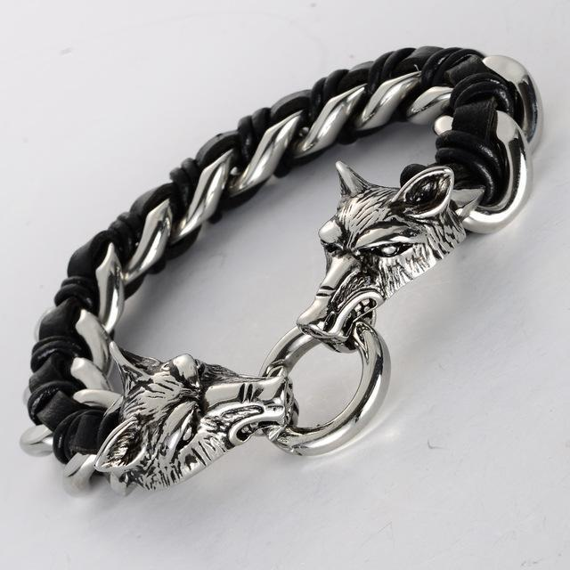 Fanduco Bracelets Black & Silver Twin Wolves Leather Chain Bracelet