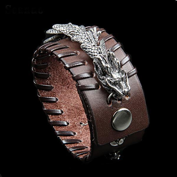 Fanduco Bracelets Brown Celestial Dragon Genuine Leather Cuff Bracelet