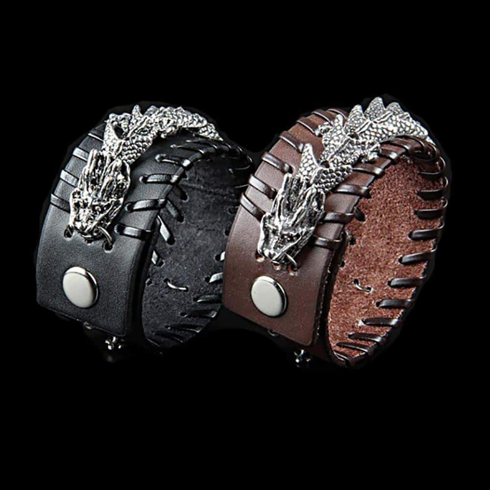 Fanduco Bracelets Celestial Dragon Genuine Leather Cuff Bracelet