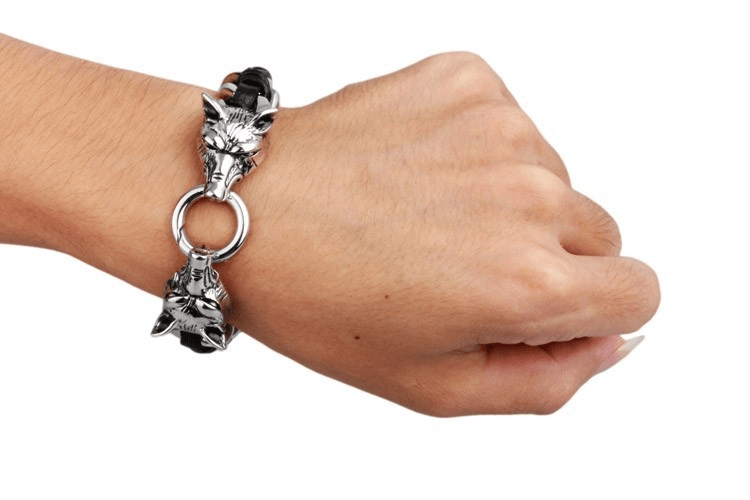 Fanduco Bracelets Twin Wolves Leather Chain Bracelet