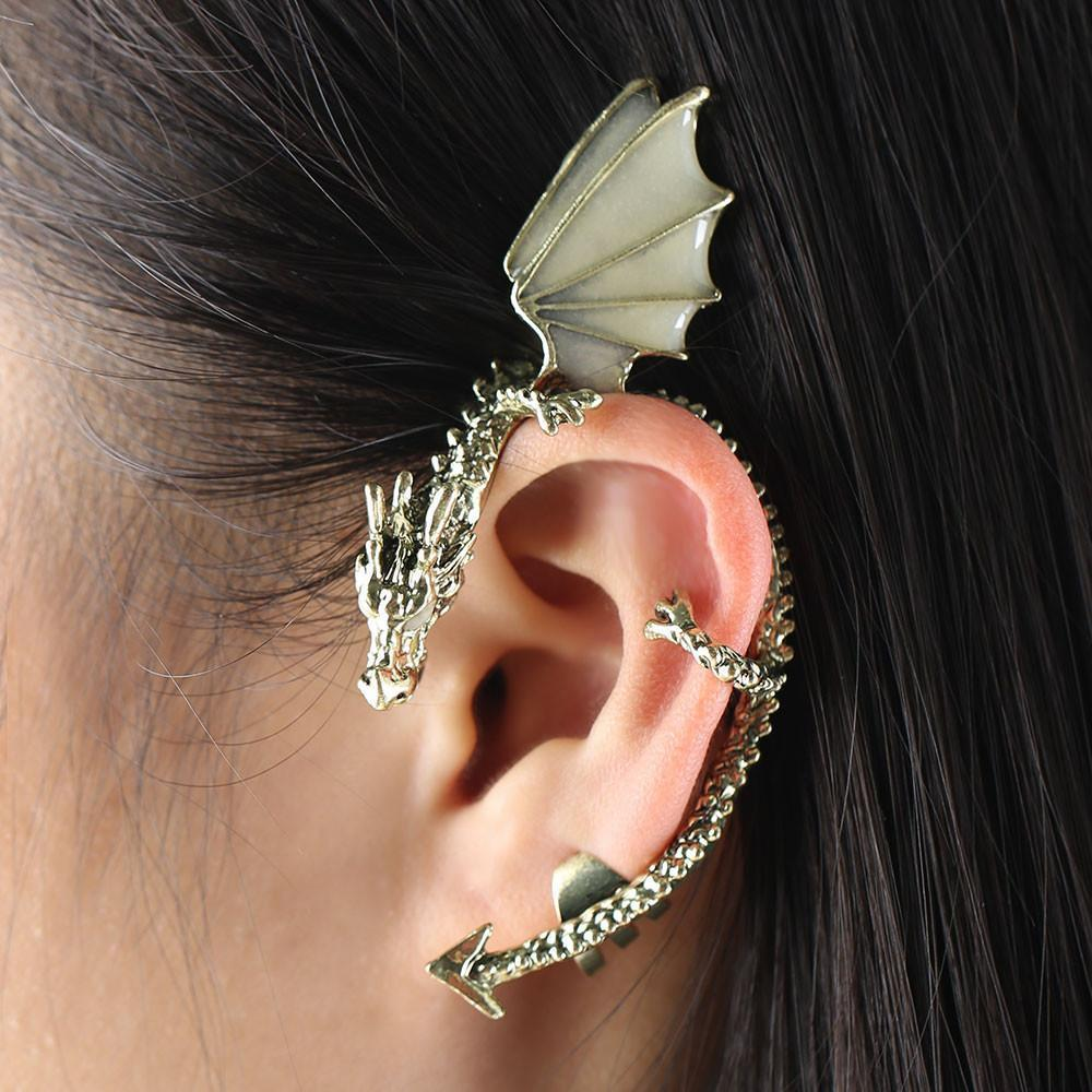 Fanduco Earrings Gold The Whispering Dragon Glow In The Dark Handcrafted Ear Cuff