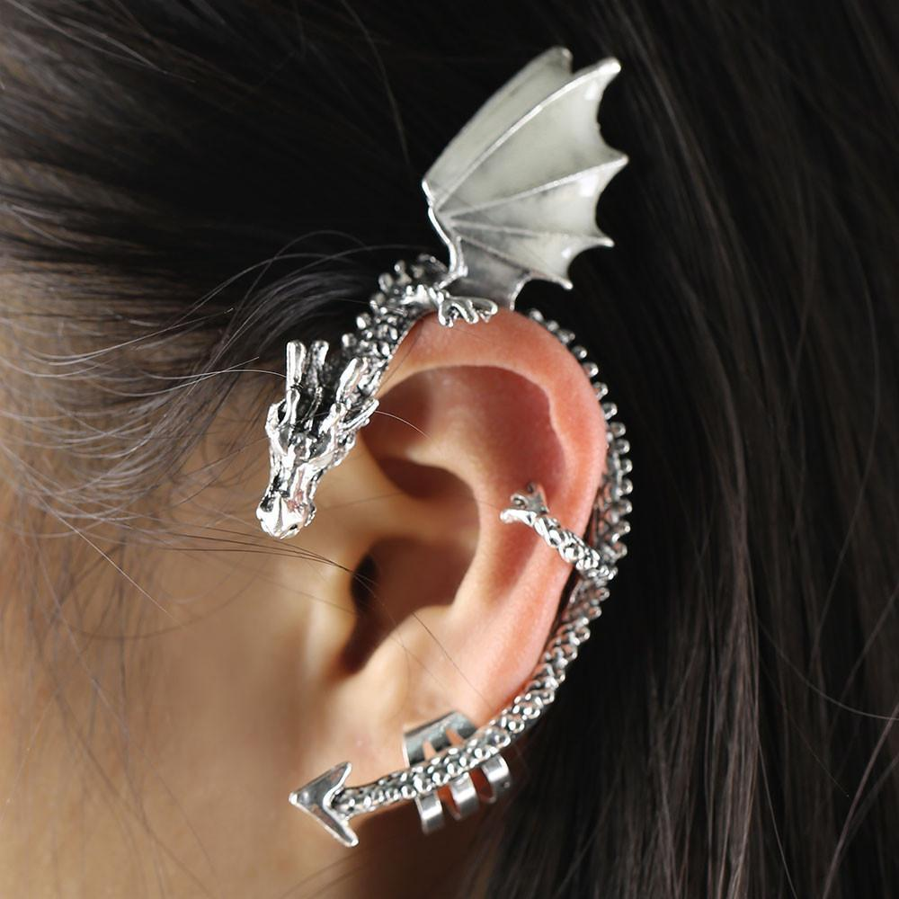 Fanduco Earrings The Whispering Dragon Glow In The Dark Handcrafted Ear Cuff