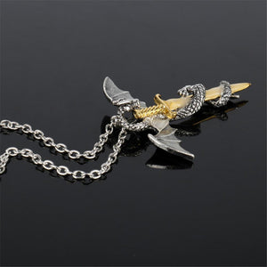 Fanduco Jewellery Dragon Sword Glow In The Dark Necklace