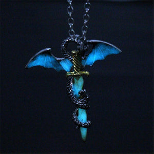 Fanduco Jewellery Glow in the Dark Dragon Sword Glow In The Dark Necklace