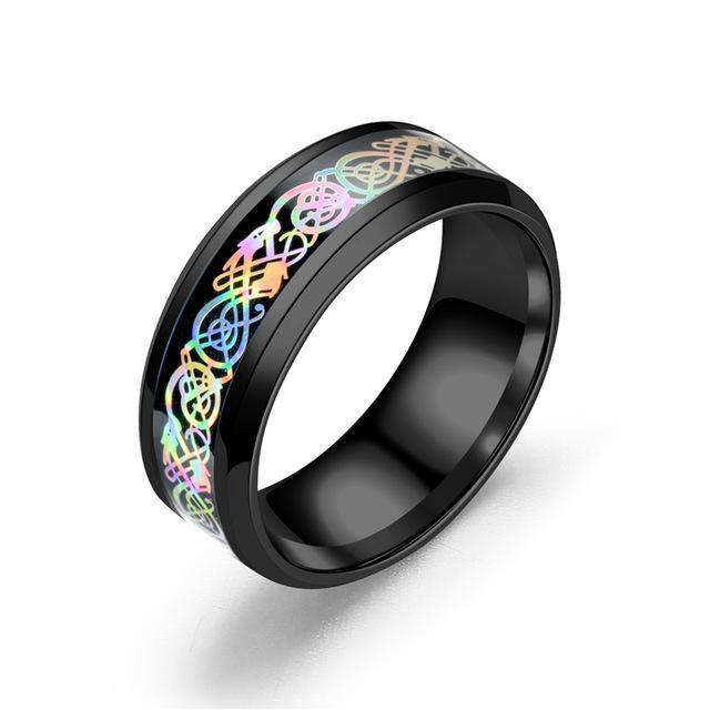 Fanduco Jewelry 6 / Black Rainbow Celtic Dragon Rings
