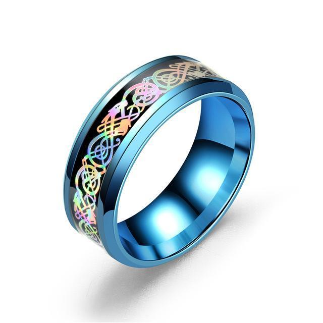 Fanduco Jewelry 6 / Blue Rainbow Celtic Dragon Rings