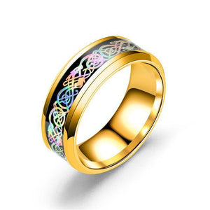 Fanduco Jewelry 6 / Gold Rainbow Celtic Dragon Rings